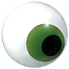 Green Cross-Eyed Teddy Bear Eyes. Eye with a multicolour enamel iris with a black pupil on a single loop fixing.