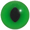 Green Cat Eyes. A black cat eye with an oval split black pupil on a loop fixing.