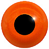 Orange/Red Glass Bird Eyes. Concave/Convex monochrome bird eyes made from crystal and hand painted.