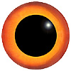 Light Orange/Orange Glass Bird Eyes. Concave/Convex multicolour bird eyes made from crystal and hand painted.