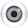 Light Grey Glass Doll Eyes. Hand painted glass doll eyes with a multicolour iris. Traditionally made eye with a bulging iris for an element of realism.